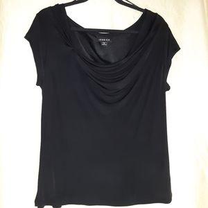 Jessica viscose knit black t-shirt size L petite